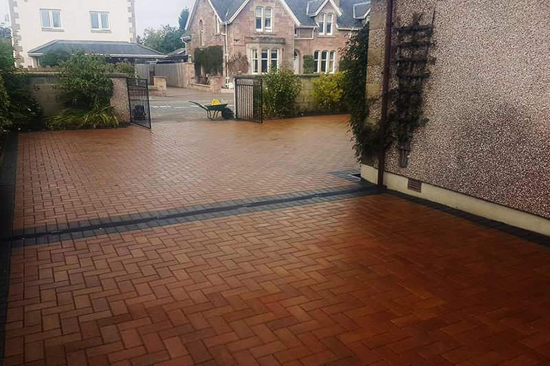 red brick paving